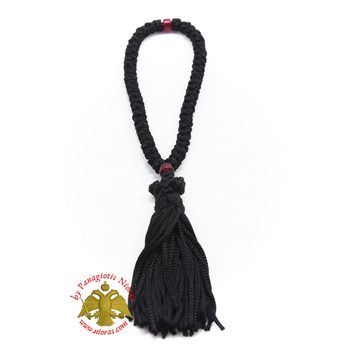 Orthodox Christian Black Prayer Rope 50 knots with Red Beads