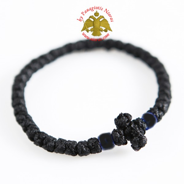 Orthodox Prayer Rope Waxed Black With Cross Black Stones