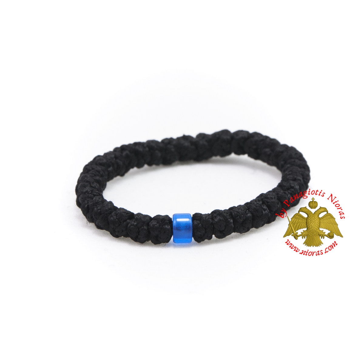 Orthodox Prayer Rope Black Wool 33 knots with Blue Beads