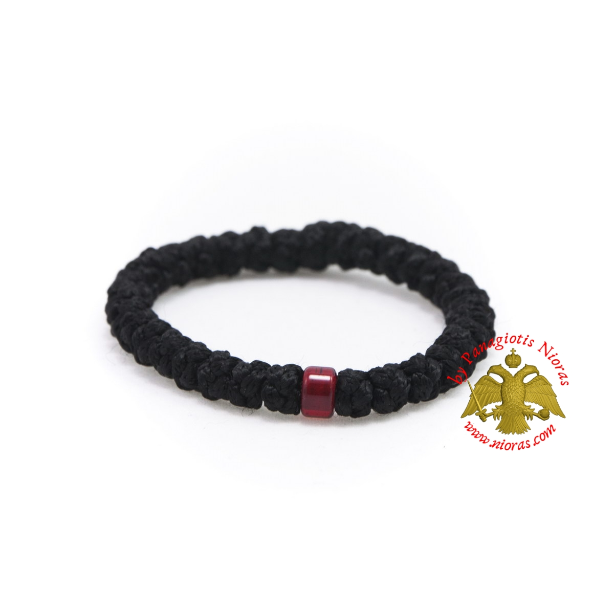 Orthodox Prayer Rope Black Wool 33 knots with Red Beads