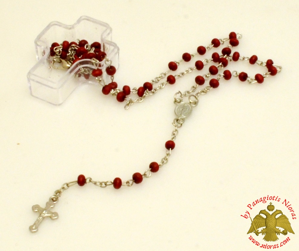 Religious Catholic Rosary With Cross Burgundy Beads in Clear Cross Box