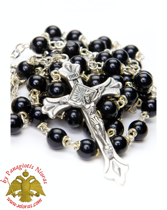 Religious Catholic Rosary With Cross Black Beads