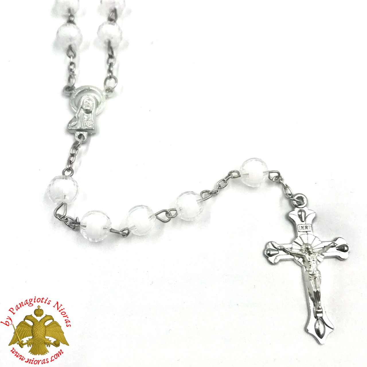 Religious Catholic Rosary With Cross White Beads