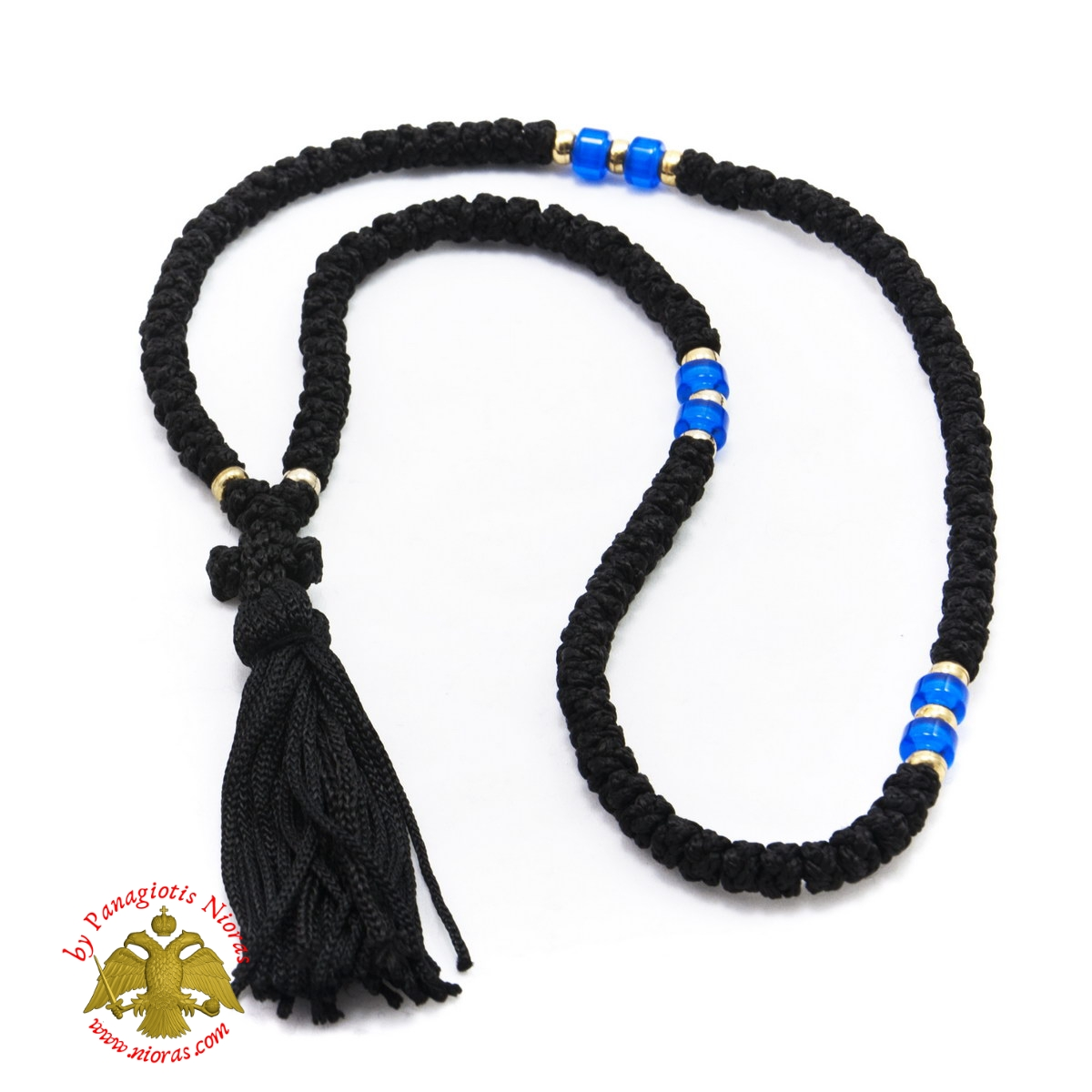 Orthodox Christian Black Prayer Rope 100 knots with Blue Beads