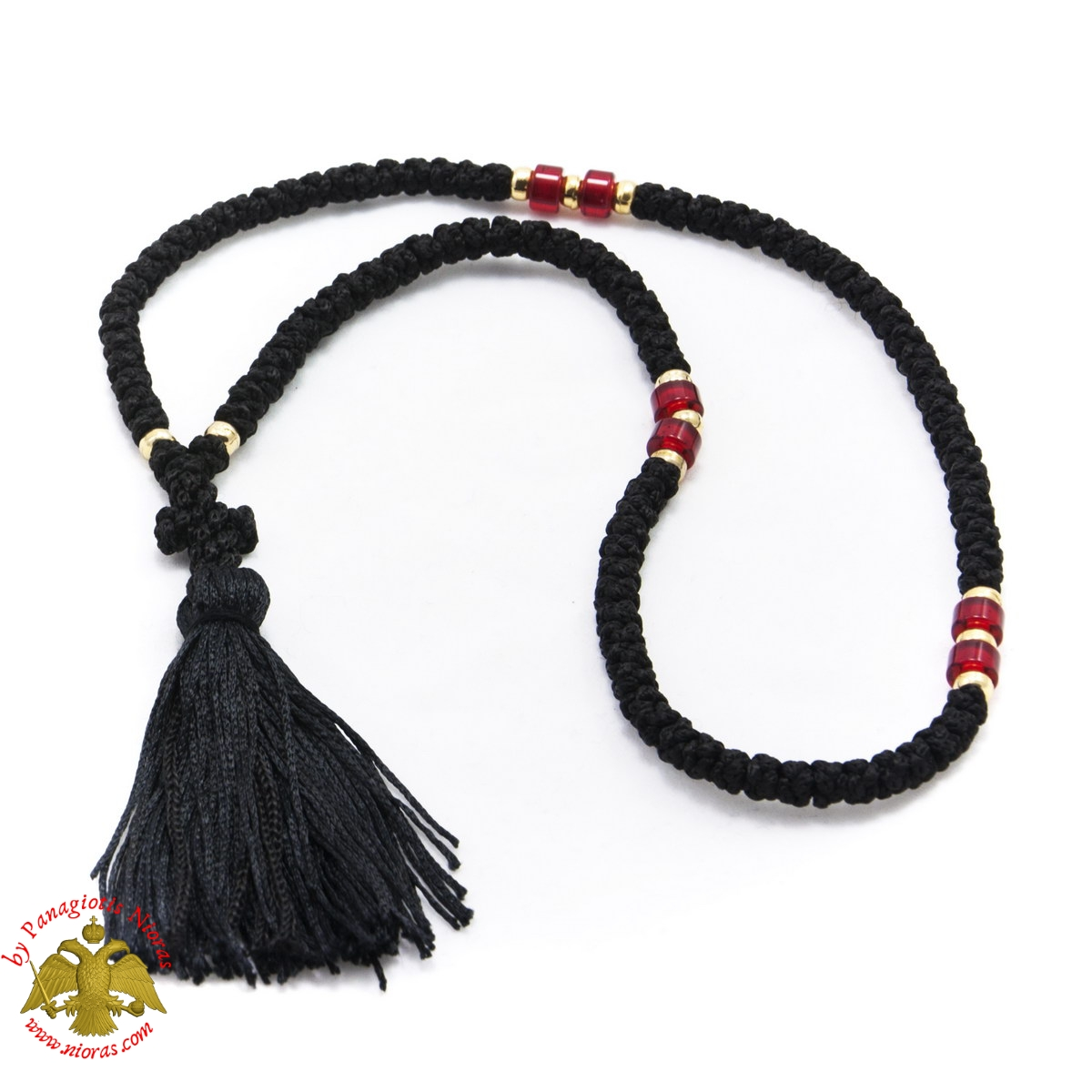 Orthodox Chrisitan Black Prayer Rope 100 knots with Red Beads