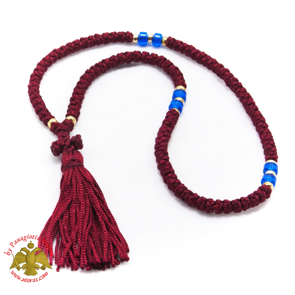 Orthodox Christian Red Prayer Rope 100 knots with Blue Beads
