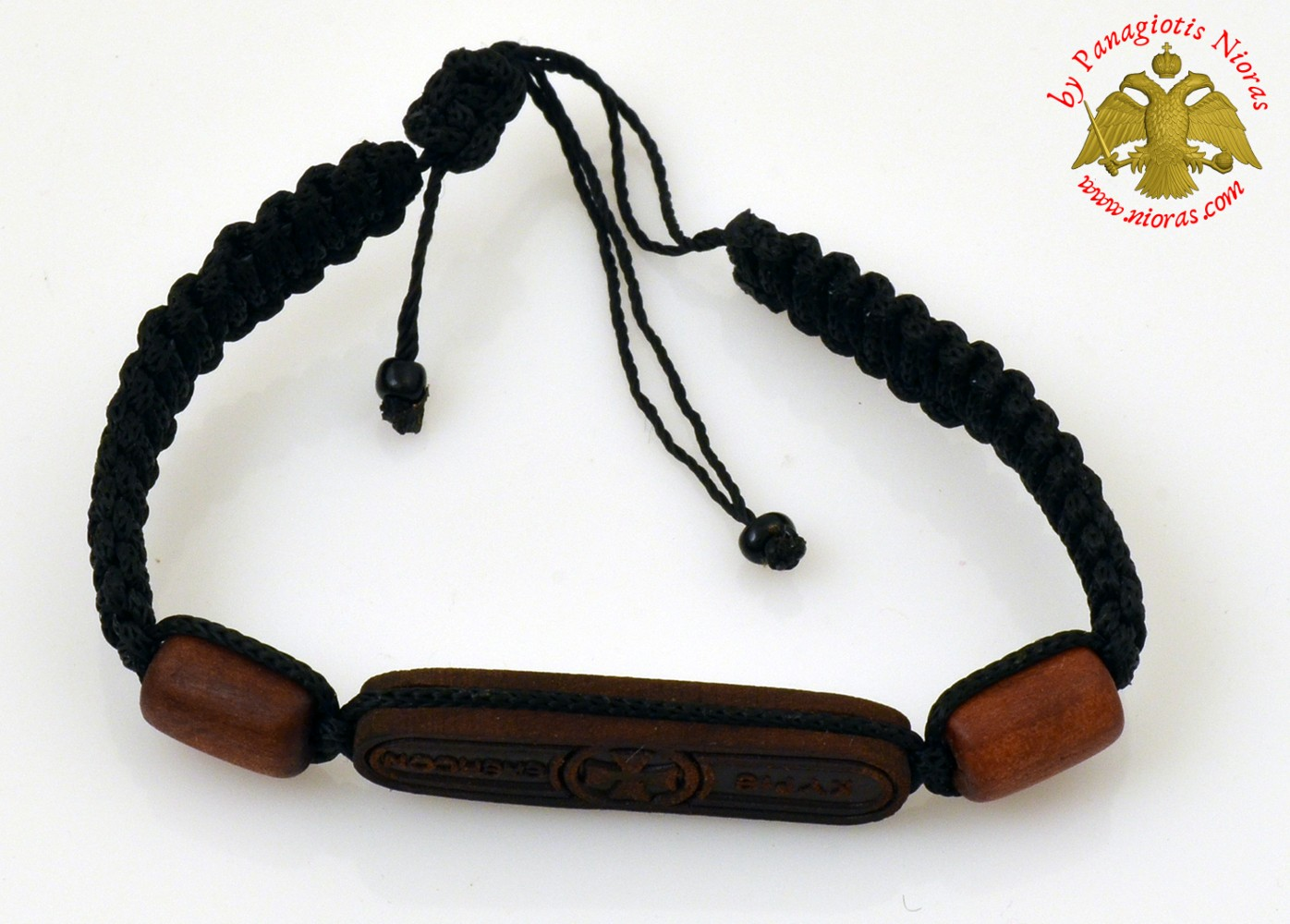 Hand Wrist Praying Rope with Wooden Brown Kyrie Eleison