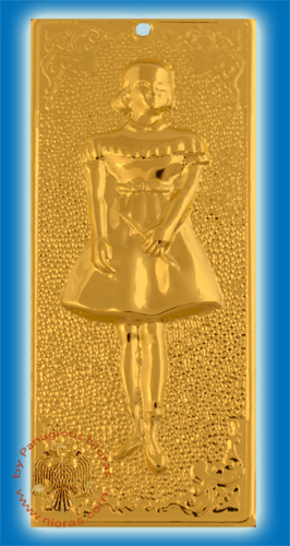 Orthodox Metal Tama Girl ExVoto Gold Plated Milagros