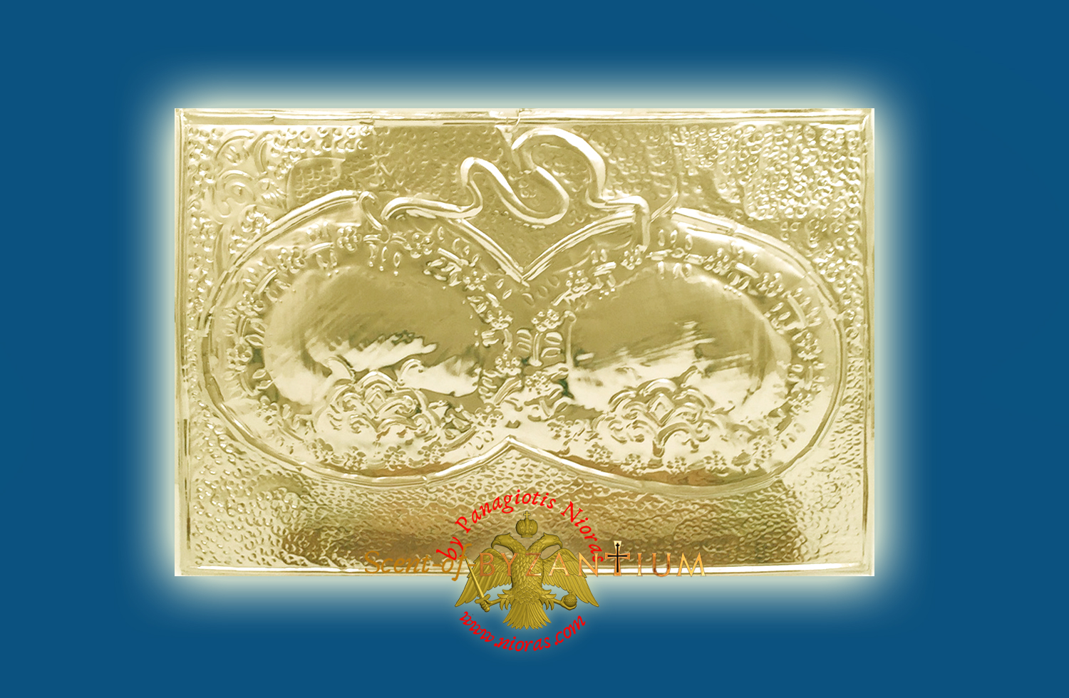 Orthodox Metal Tama (Votive) Wedding Crowns ExVoto Gold Plated Milagros Special Order 22x35cm