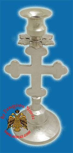 Altar Holy Table Candle Stand Cross Design Nickel Plated