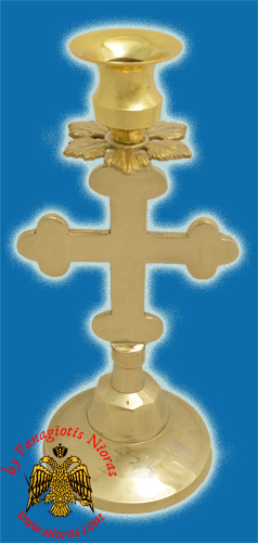 Altar Holy Table Candle Stand Cross Design Brass Plated