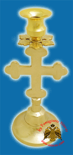 Altar Holy Table Candle Stand Cross  Design Gold Plated