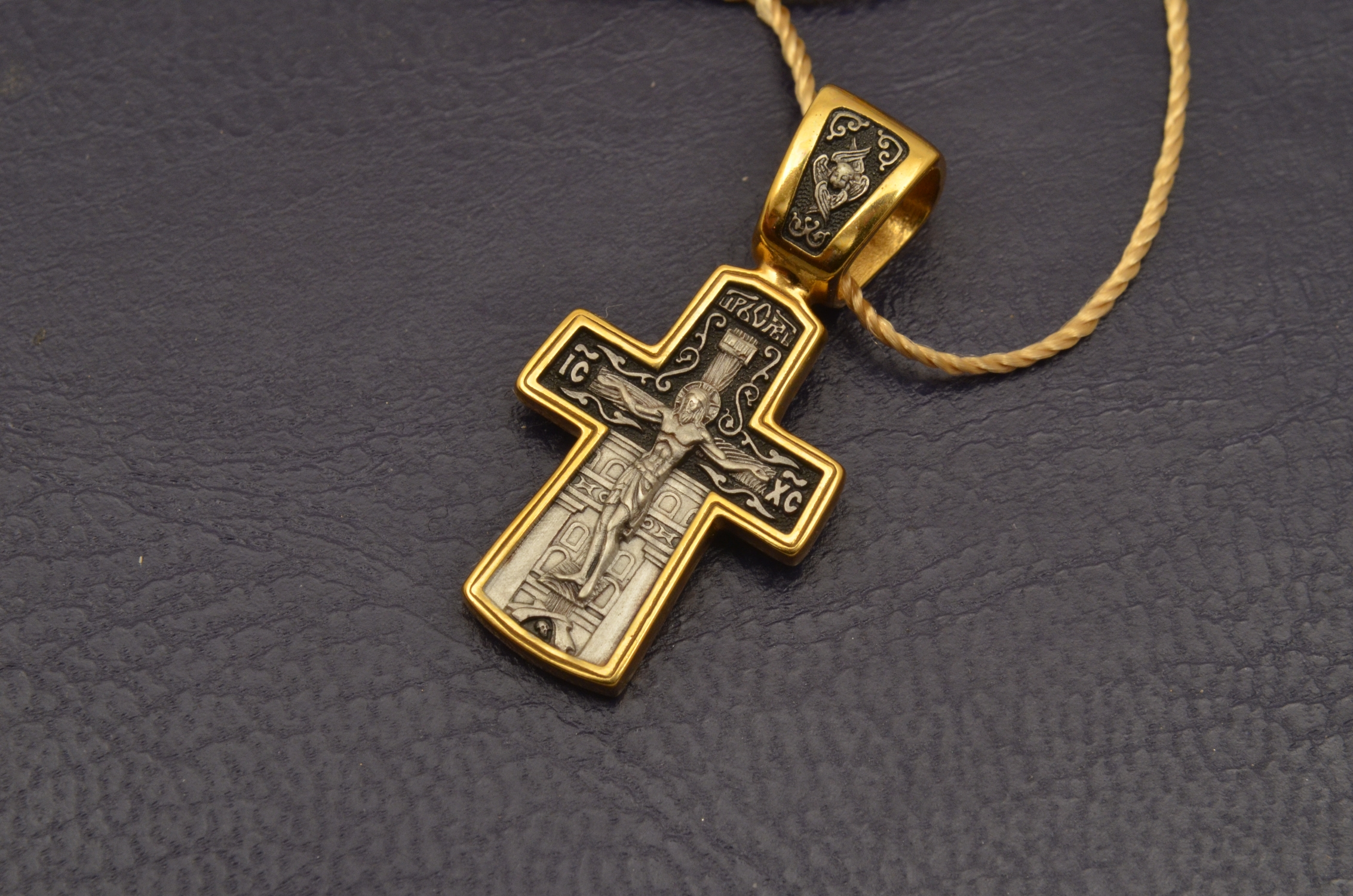 Russian Orthodox NeckWear Silver 925 Cross Gold Plated Gildings 8005 offered in Velvet Gift Box