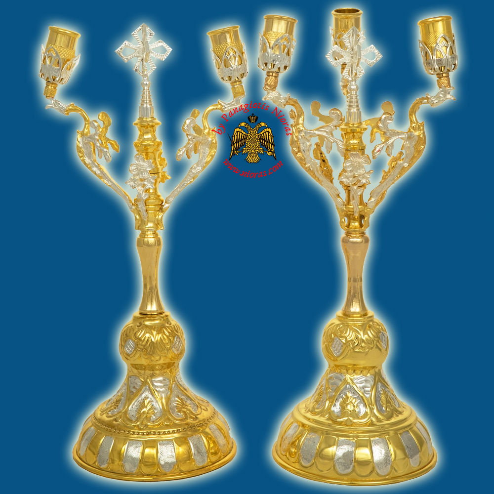 Orthodox Holy Table Candle Stand Set Double/Triple Gold-Plated