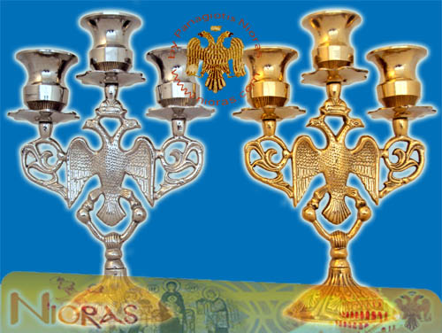 Byzantine Eagle Design Three Case Candle Stand 20x13cm