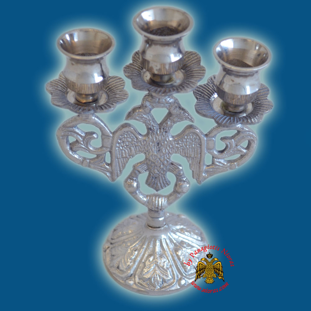 Byzantine Eagle Design Three Case Candle Stand 17x10cm Nickel Plated