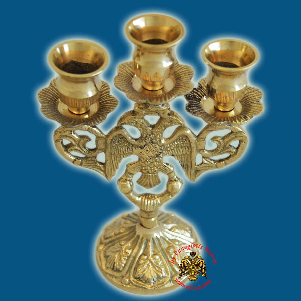 Byzantine Eagle Design Three Case Candle Stand 17x10cm Brass Polished