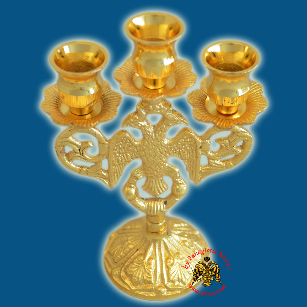 Byzantine Eagle Design Three Case Candle Stand 17x10cm Gold Plated