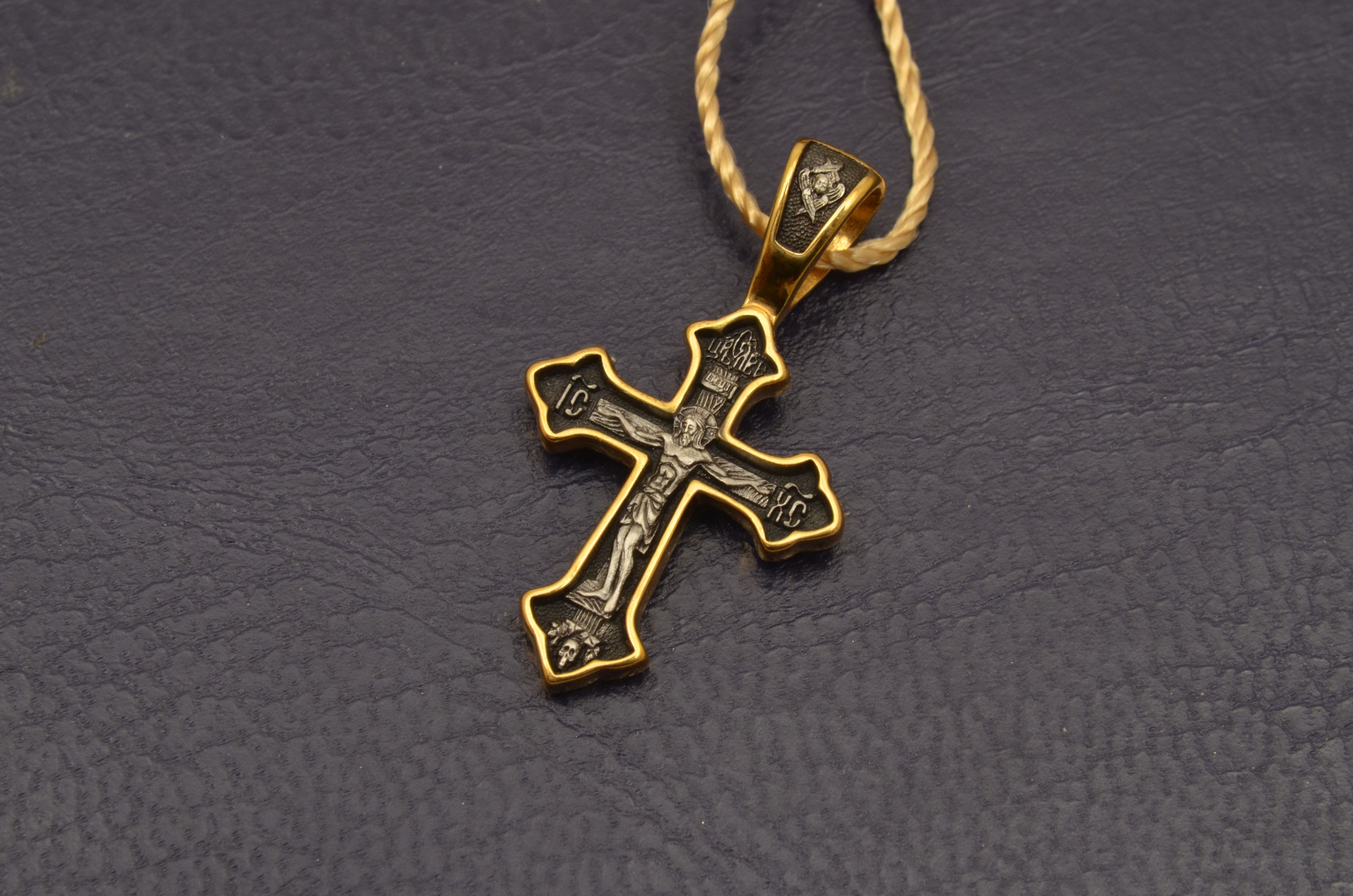 Russian Orthodox NeckWear Silver 925 Cross Gold Plated Gildings 8059 offered in Velvet Gift Box