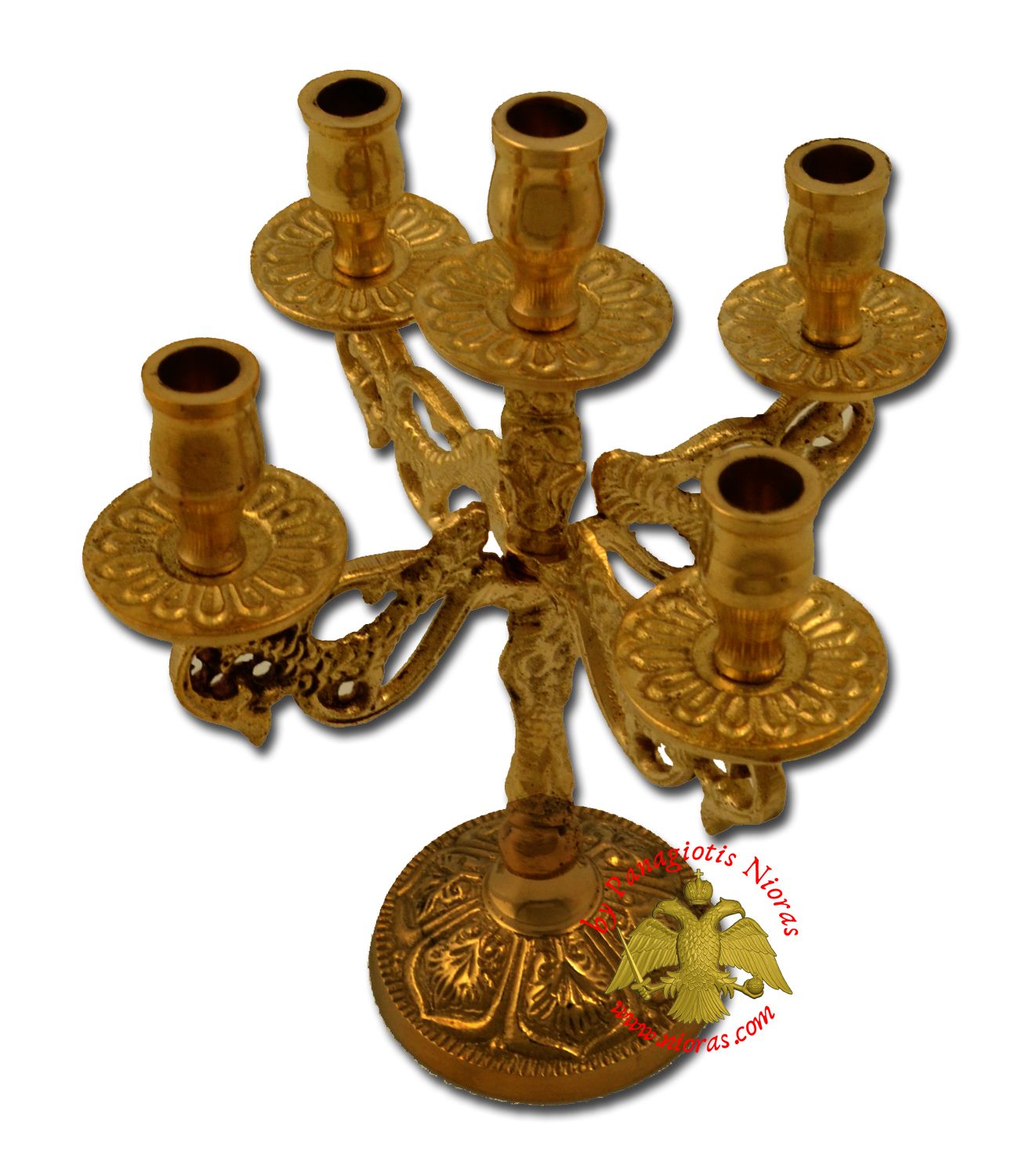 Orthodox Candle Stand Traditional Peacock Design for Five Candles Antique