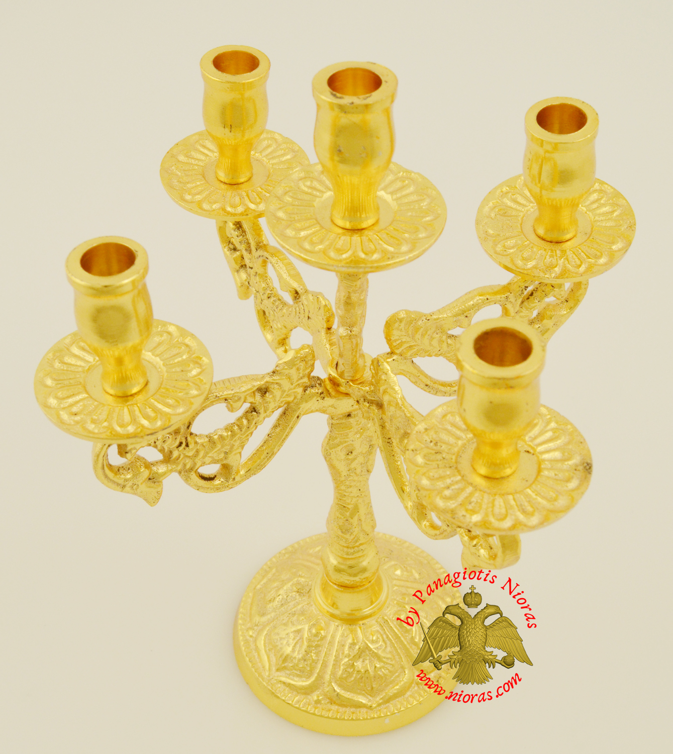 Orthodox Candle Stand Traditional Peacock Design for Five Candles Gold Plated