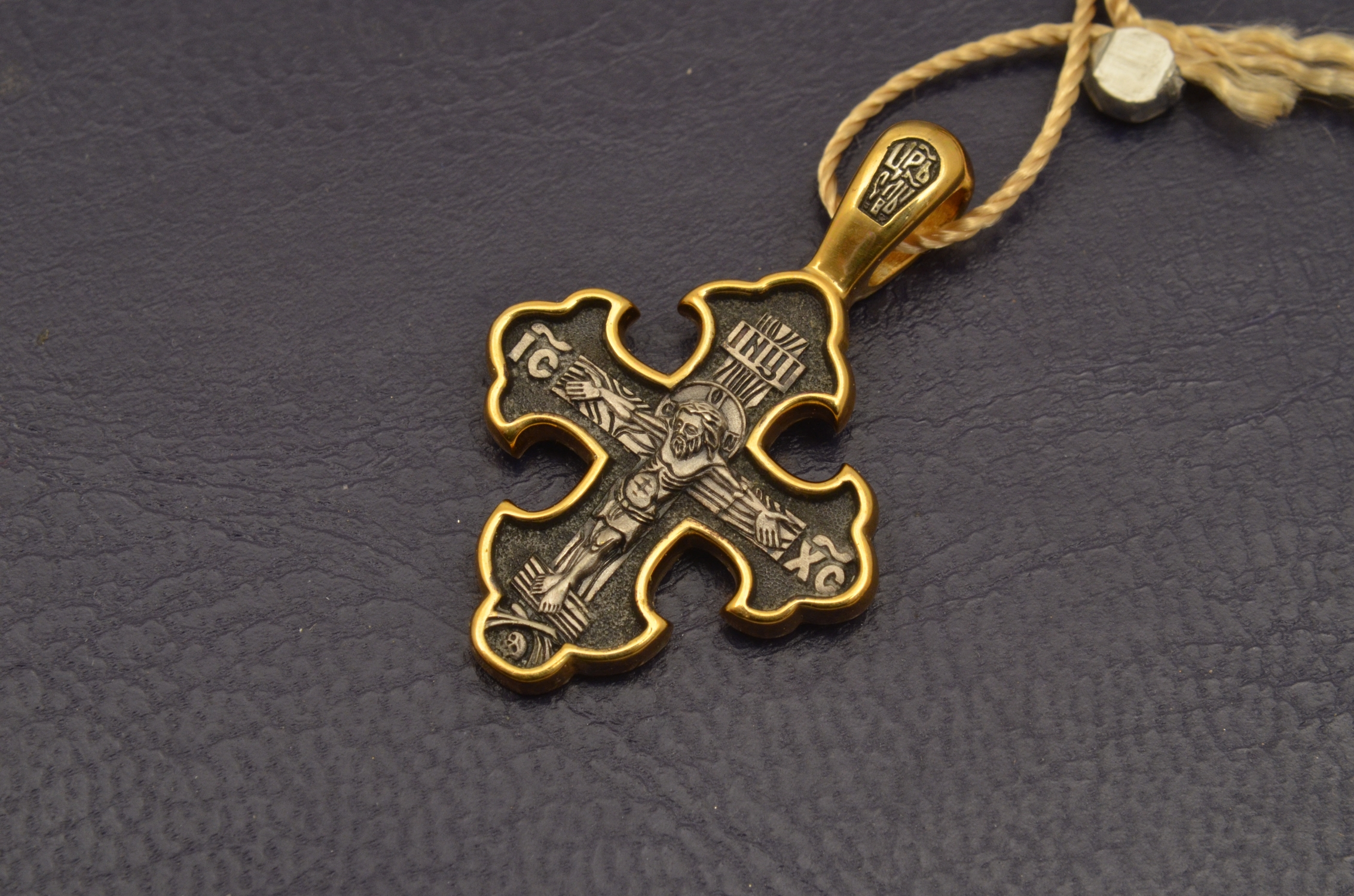 Russian Orthodox NeckWear Silver 925 Cross Gold Plated Gildings 8087 offered in Velvet Gift Box