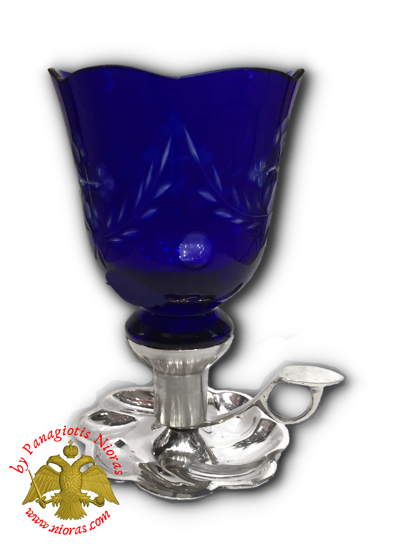 Traditional Single Candle Stand with Plate and Handle Nickel Polished With Orthodox Vigil Oil Cup Blue