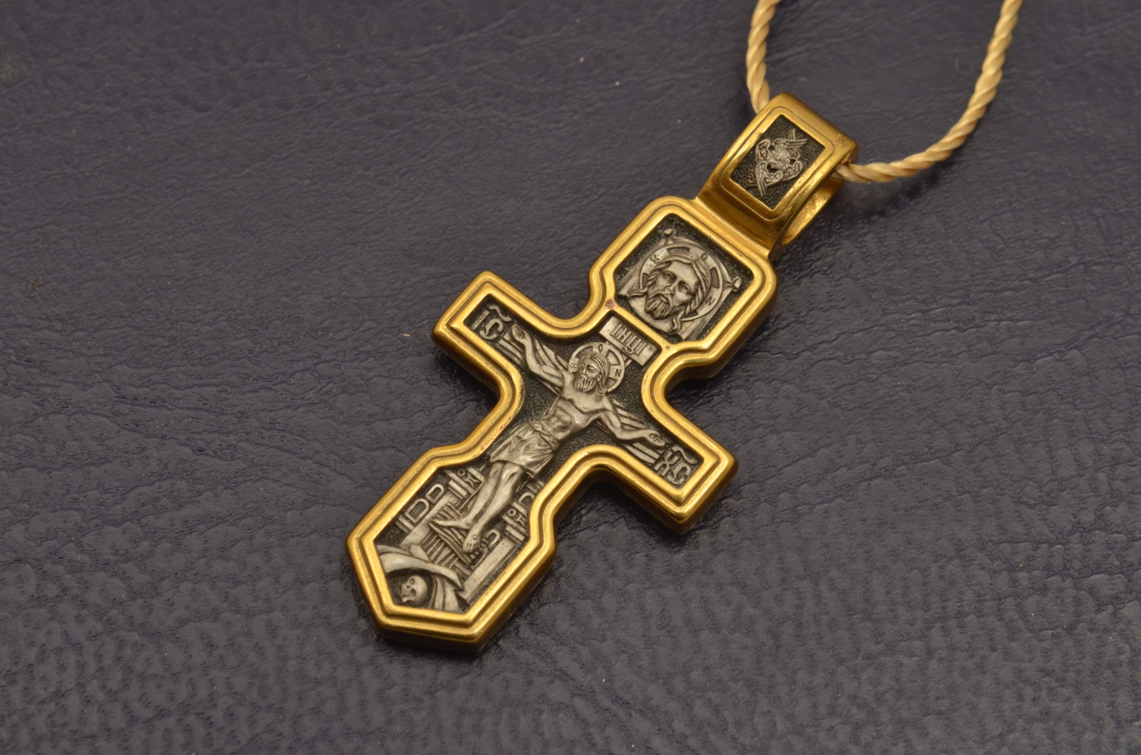 Russian Orthodox NeckWear Silver 925 Cross Gold Plated Gildings 8110 offered in Velvet Gift Box