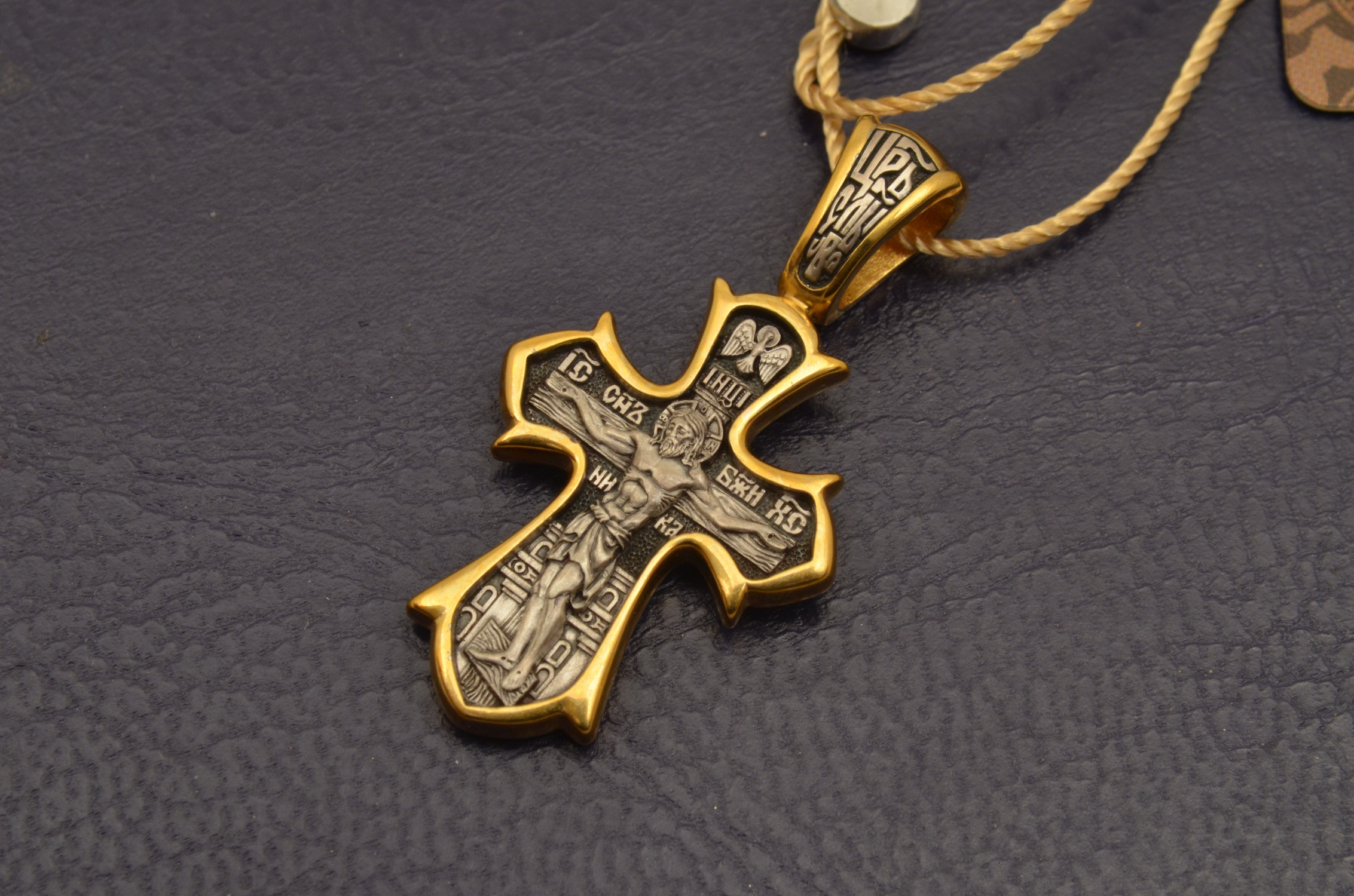 Russian Orthodox NeckWear Silver 925 Cross Gold Plated Gildings 8121 offered in Velvet Gift Box