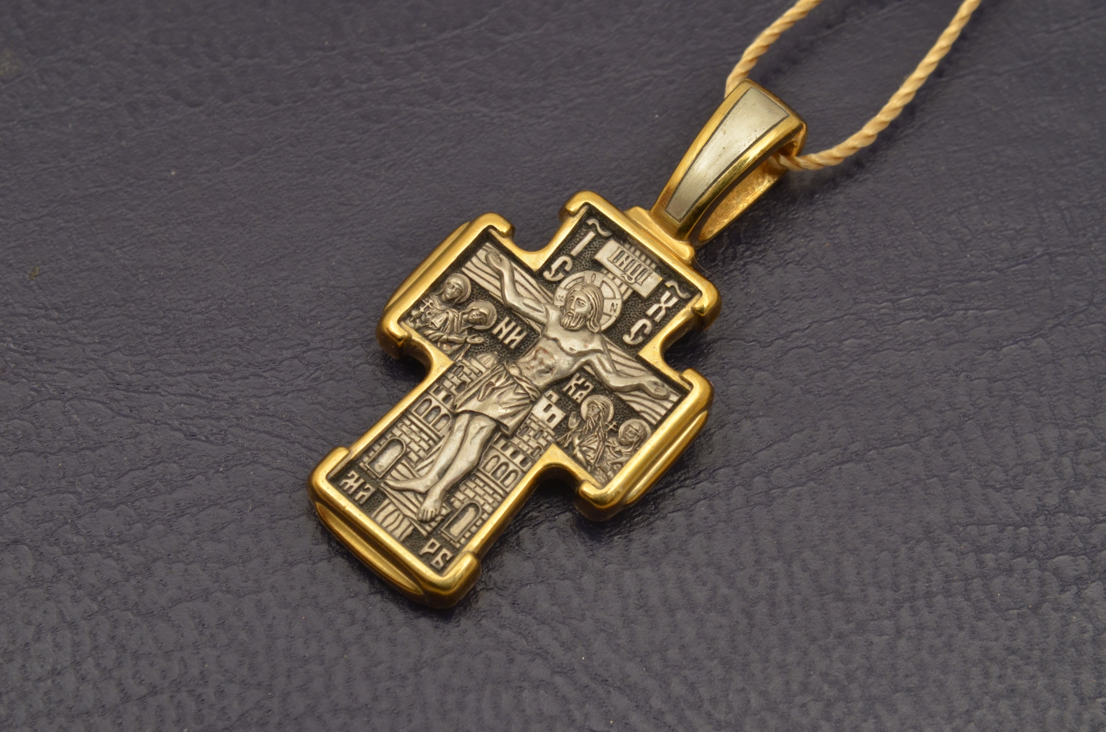 Russian Orthodox NeckWear Silver 925 Cross Gold Plated Gildings 8152 offered in Velvet Gift Box