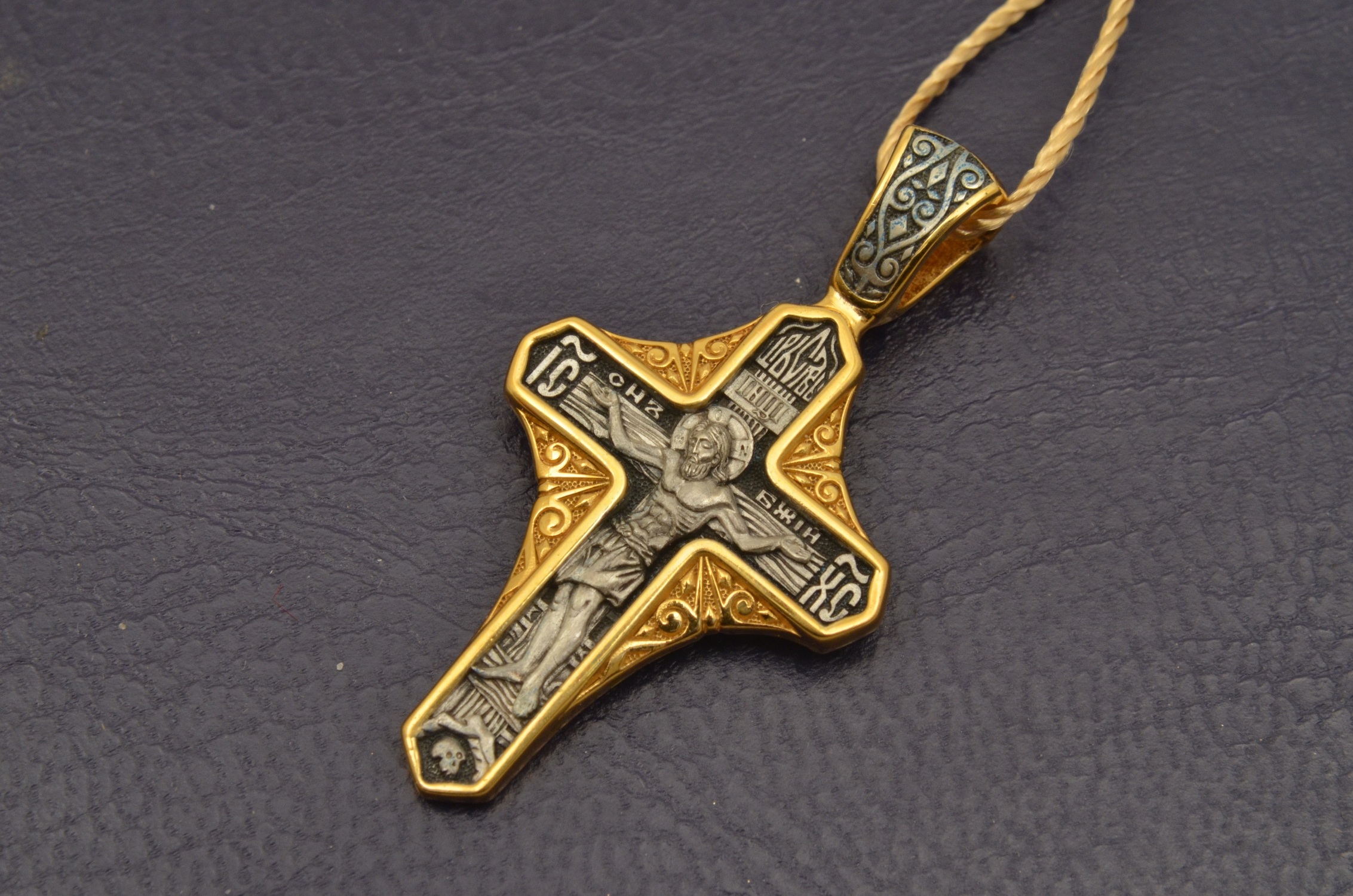 Russian Orthodox NeckWear Silver 925 Cross Gold Plated Gildings 8169 offered in Velvet Gift Box