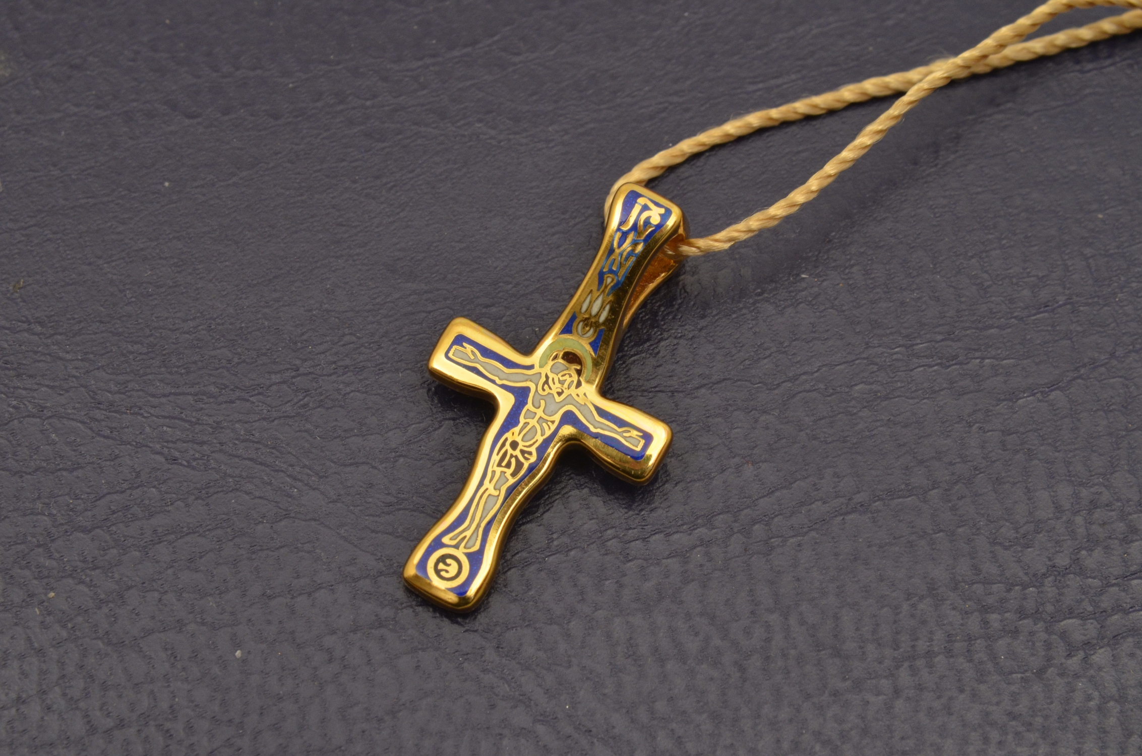Russian Orthodox NeckWear Silver 925 Cross Gold Plated Gildings 8187 offered in Velvet Gift Box