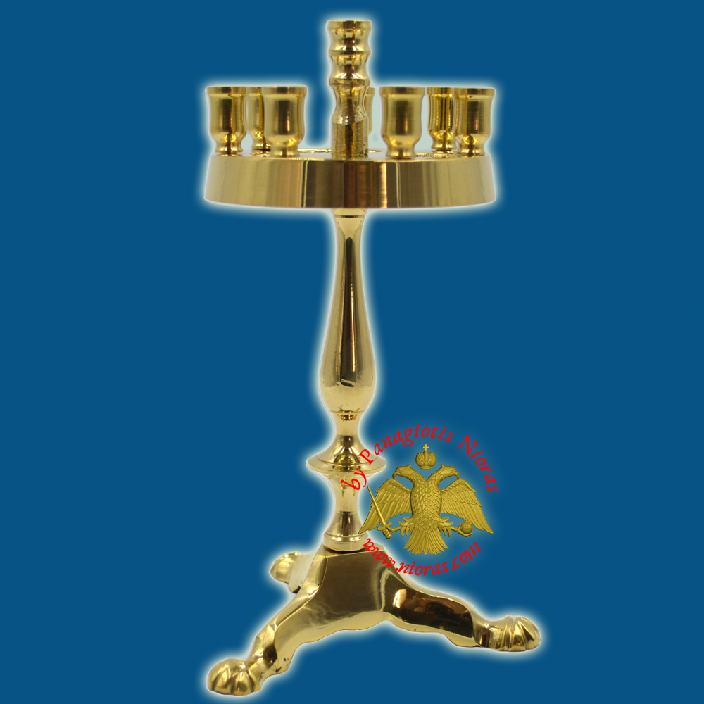 Orthodox Traditional Miniature Round 7-Candle Stand 20cm Brass