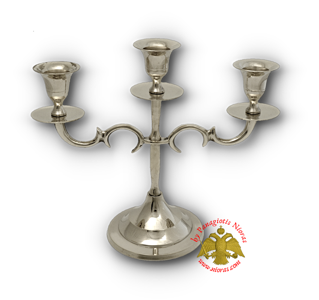 Traditional Three Case Candle Stand Nickel Plated h:19x22cm