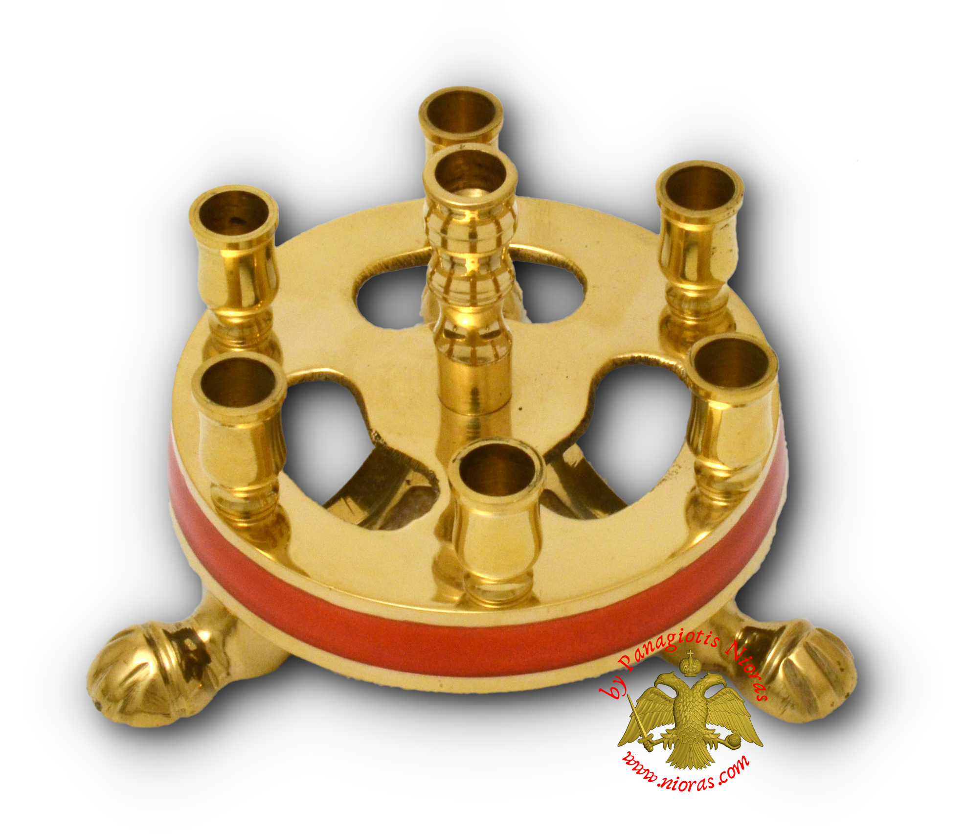 Metal Brass Candle Stand Round Red 9cm