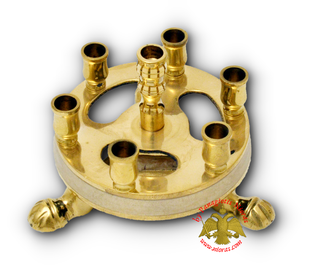 Metal Brass Candle Stand Round White 9cm
