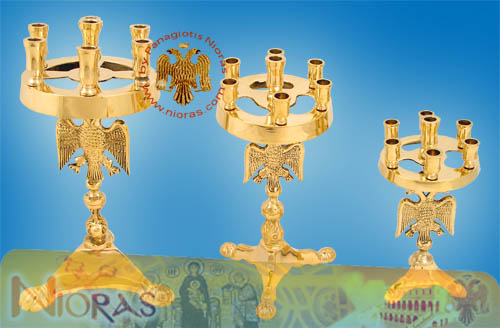 Miniature Brass Candle Stand with the Byzantine Eagle