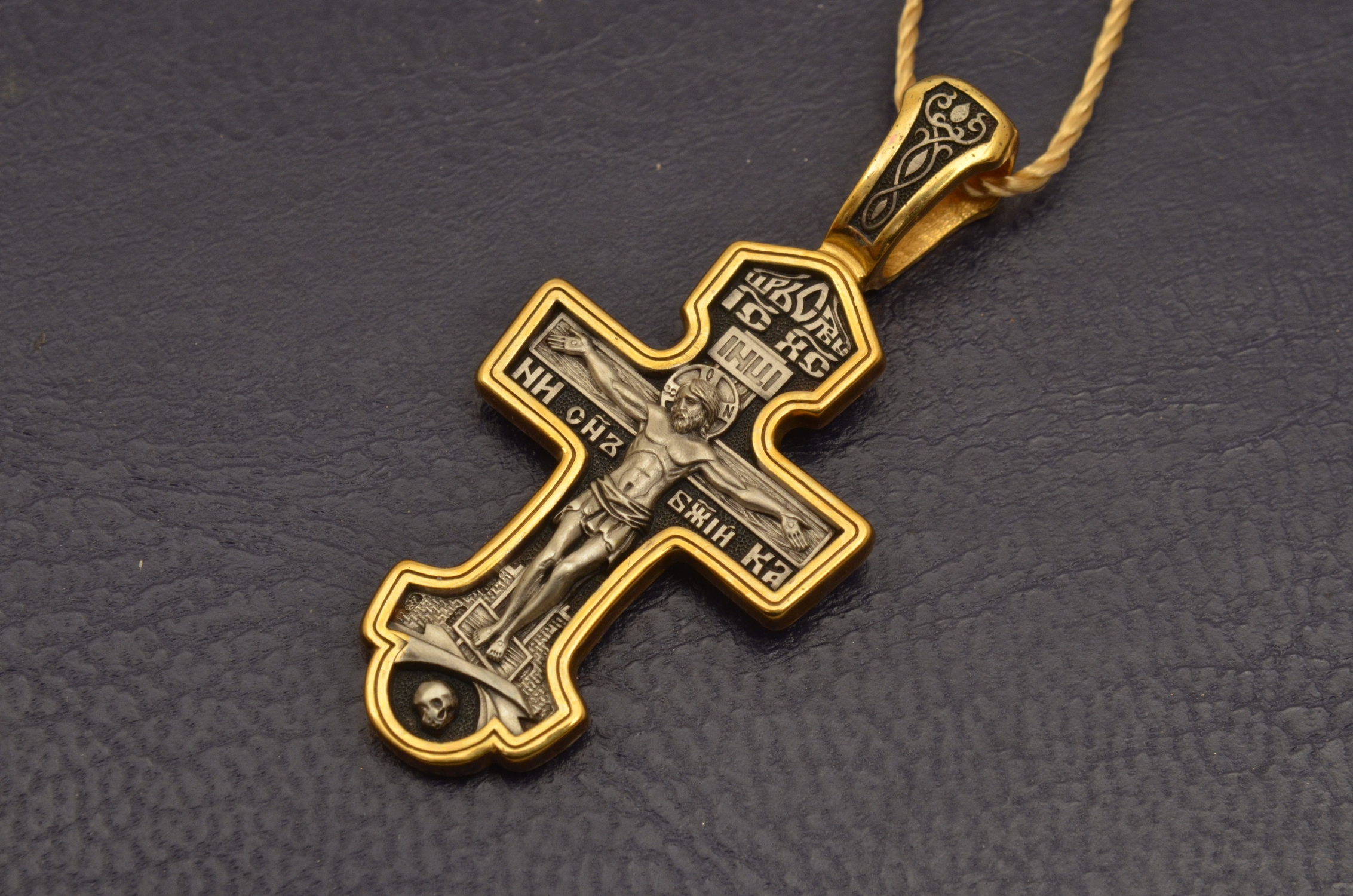 Russian Orthodox NeckWear Silver 925 Cross Gold Plated Gildings 8218 offered in Velvet Gift Box