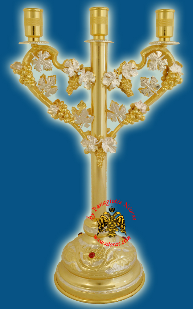 Orthodox Church Grapes Design Candle Stand Trikeri in Line 29cm