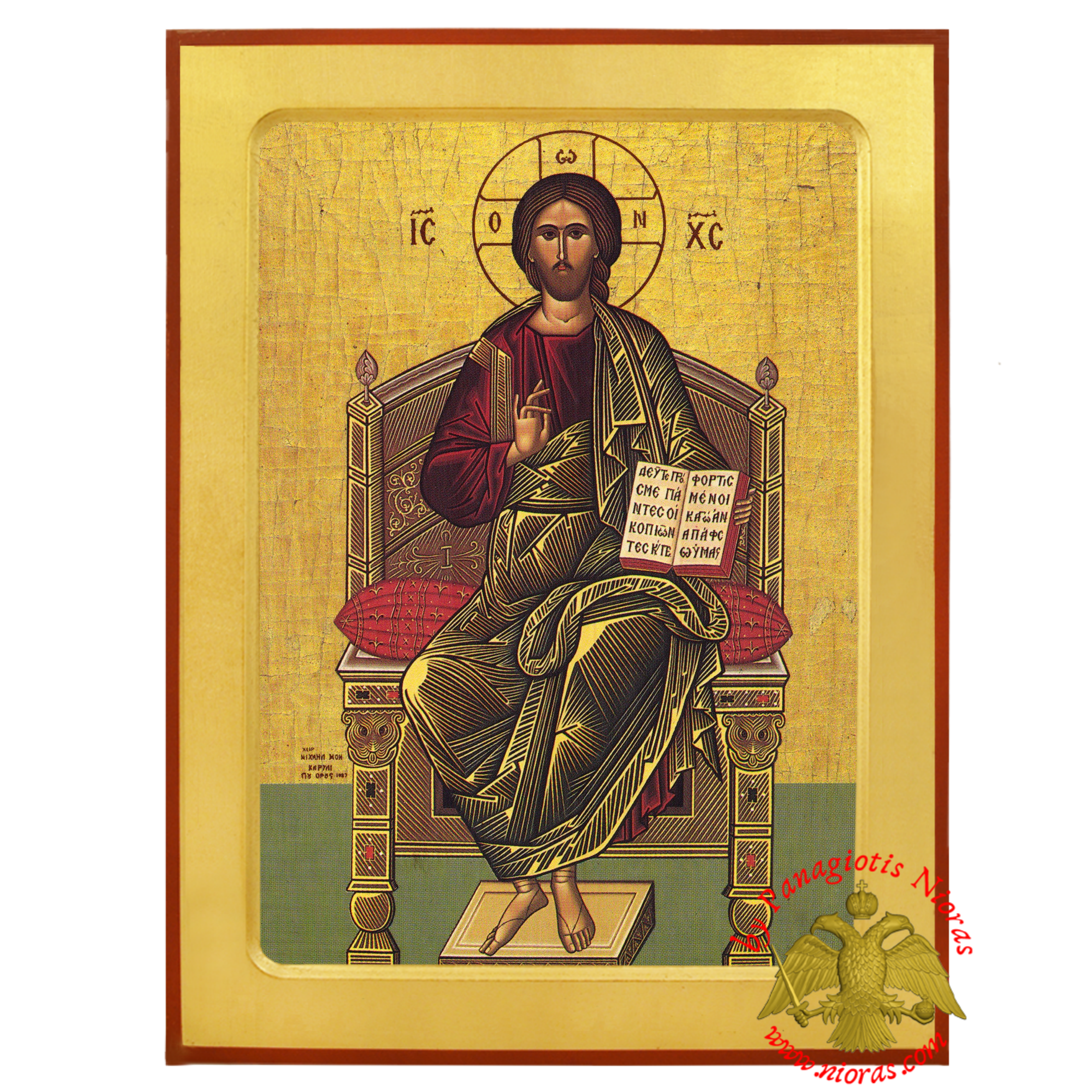 Jesus Christ Enthroned Orthodox Byzantine Wooden Icon, Michael Monk of Mount Athos
