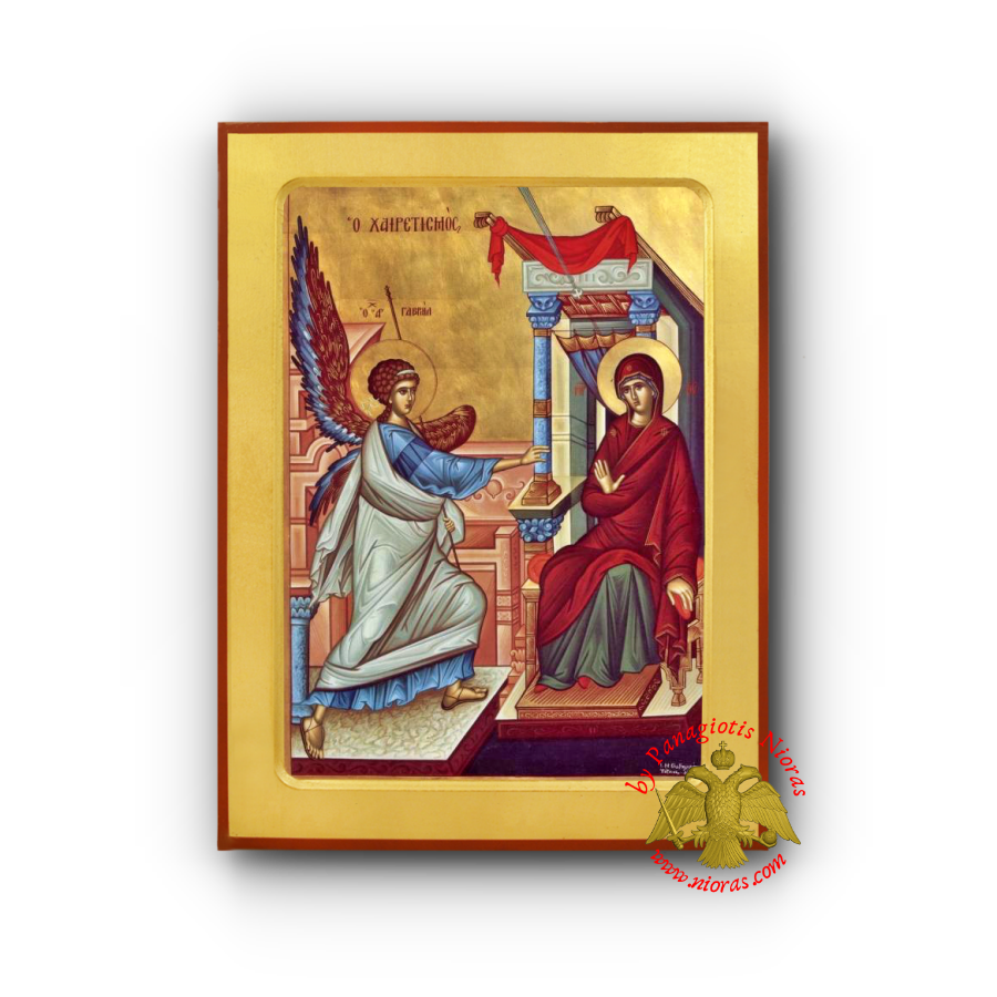 The Annunciation Salutation Byzantine Wooden Icon
