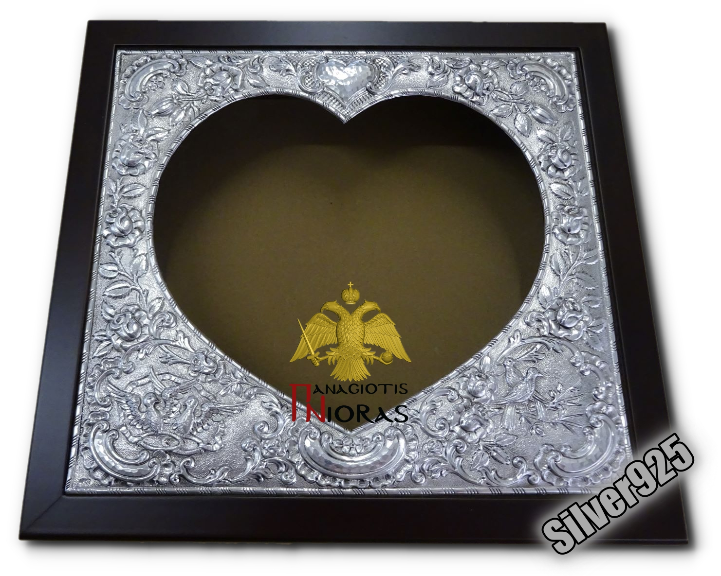 Silver Wedding Crown Case Rectangural Heart Decoration Wooden Case 26x29cm