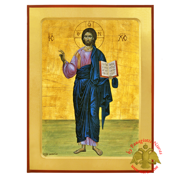 Christ Blessing Full Figure Byzantine Wooden Icon