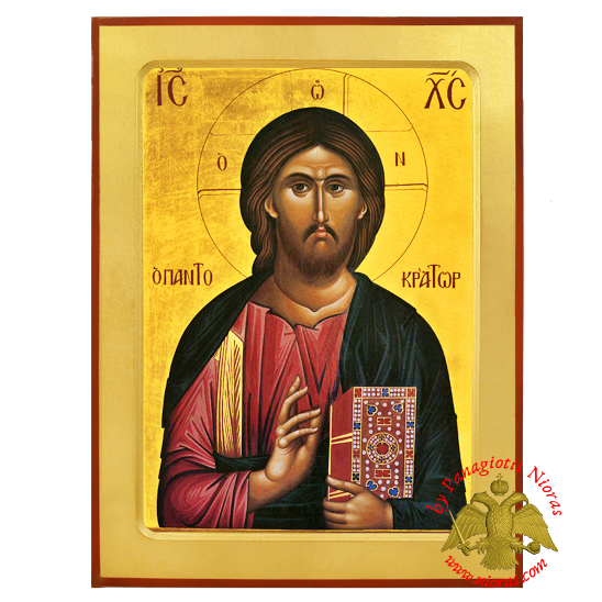 The Pantokrator Byzantine Wooden Icon Replica of Monk Gregorios