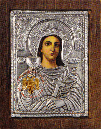 Saint Barbara Silver Plated Icon