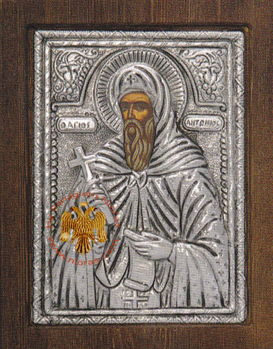 Saint Anthony Silver Plated Metal Icon on Wood