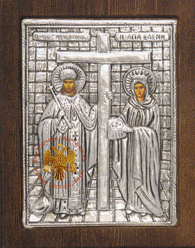 Saint Constantine and Helen Silver Plated Icon