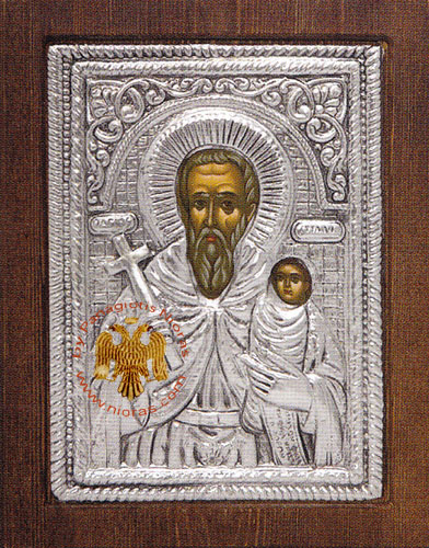 Saint Stylianos Silver Plated Icon
