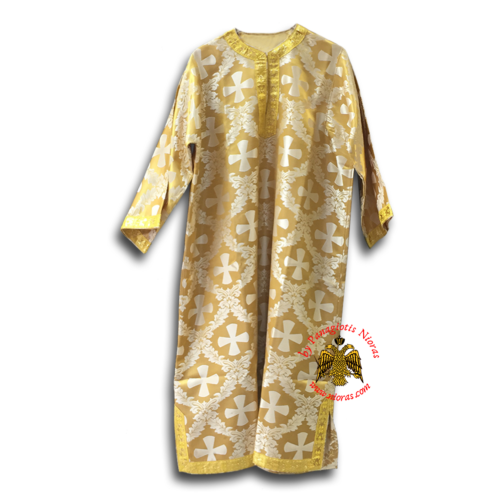 Altar Boy Vestment Ecclesiastical Golden Fabric With Crosses No.83-10