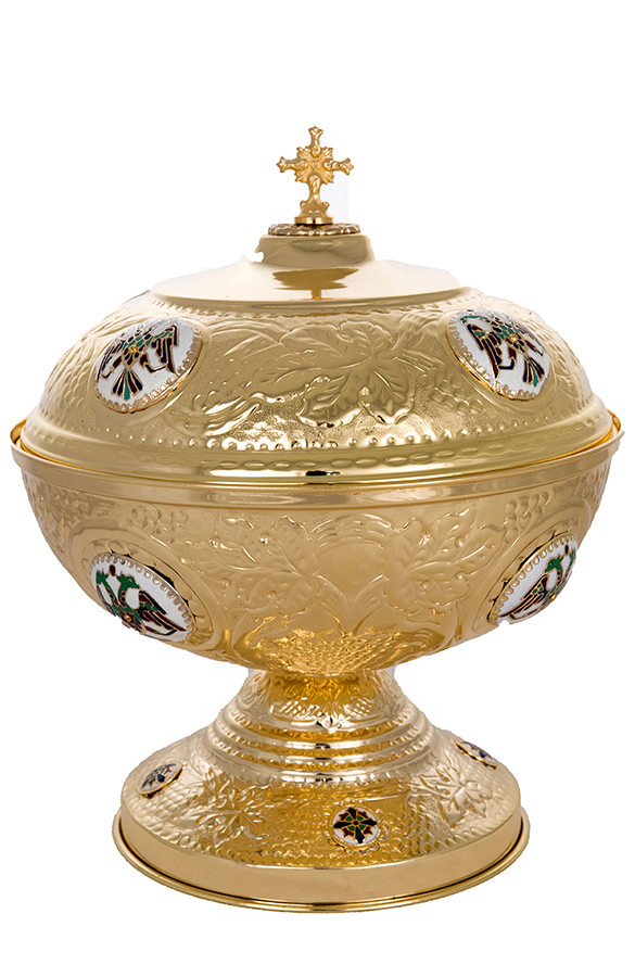 Andidoron Bowl Gold Plated with Enamel Details for Holy Bread